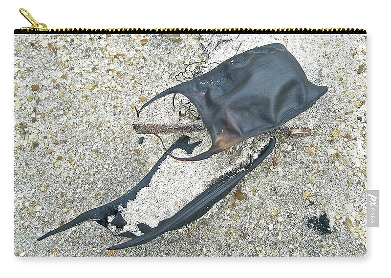 Ocean Carry-all Pouch featuring the photograph Skate Egg Cases On Sand by Mother Nature