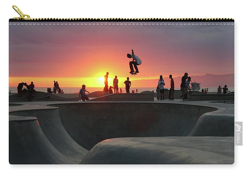 Expertise Carry-all Pouch featuring the photograph Skateboarding At Venice Beach by Mgs