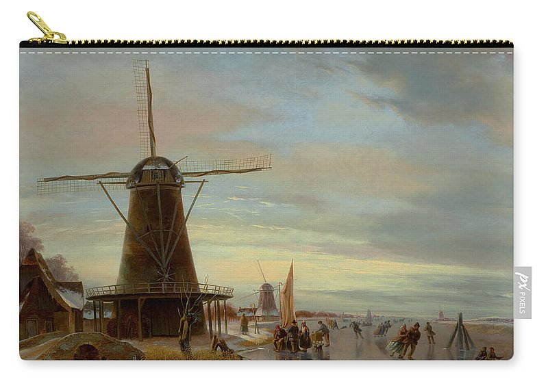 Skater Carry-all Pouch featuring the painting Skaters On A Frozen Waterway by Nicholas Jan Roosenboom