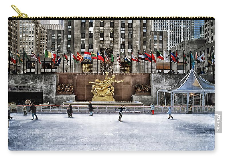 New York City Carry-all Pouch featuring the photograph Skating At Rockefeller Plaza by Mountain Dreams