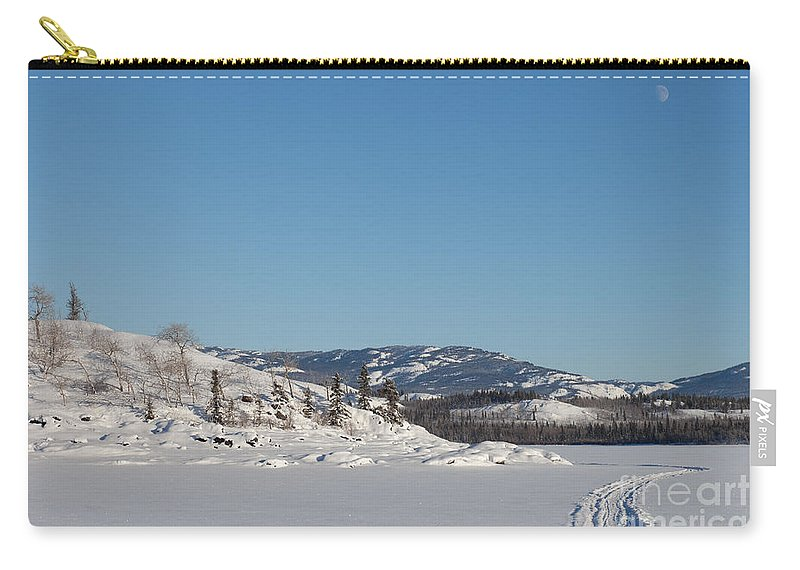 Alaska Carry-all Pouch featuring the photograph Skidoo Track On Frozen Lake by Stephan Pietzko