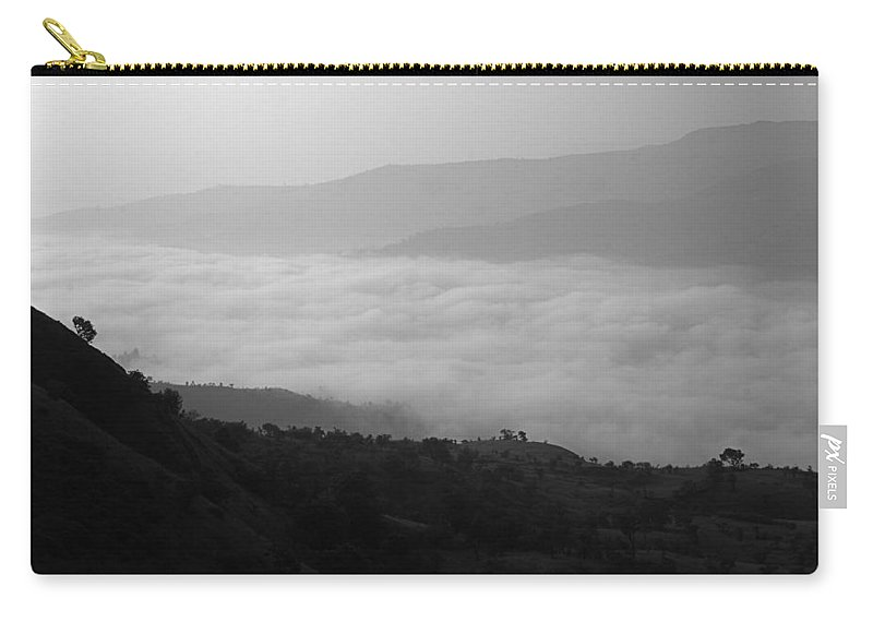 Black-and-white Carry-all Pouch featuring the photograph Skc 0753 Winter Settlement by Sunil Kapadia
