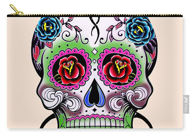 Via De Los Muertos Carry-all Pouch featuring the painting Skull 11 by Mark Ashkenazi