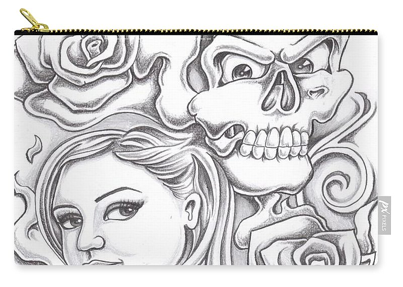 Skull Carry-all Pouch featuring the drawing Skull And Roses by Lupe Gonzalez