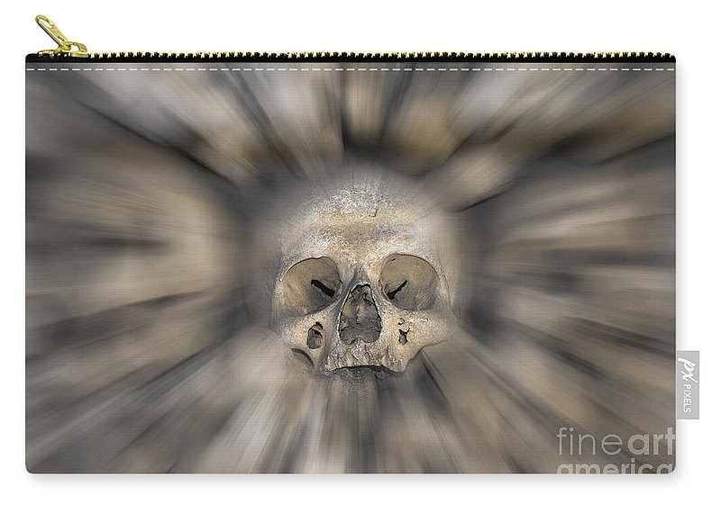 Halloween Carry-all Pouch featuring the photograph Skull - Fear And Trembling by Michal Boubin