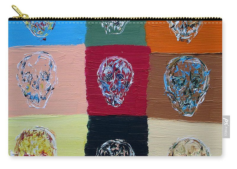 Skull Carry-all Pouch featuring the painting Skull Pop Nine by Fabrizio Cassetta
