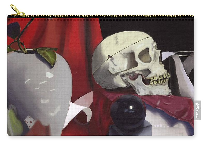 Skull Carry-all Pouch featuring the painting Seen Better Days by Scott Phillips