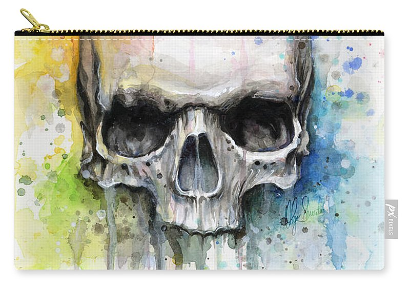 Skull Carry-all Pouch featuring the painting Skull Watercolor Painting by Olga Shvartsur