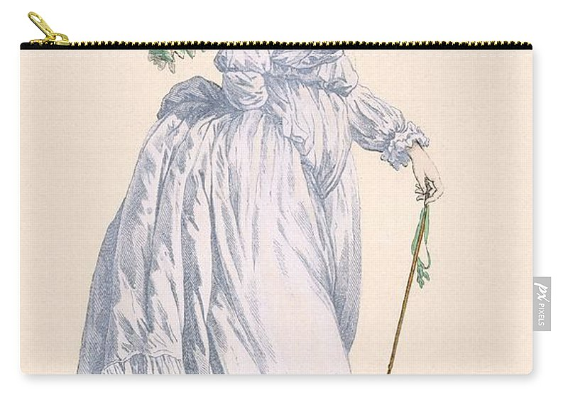 Carry-all Pouch featuring the drawing Sky Blue Promenade Dress With Green by Francois Louis Joseph Watteau