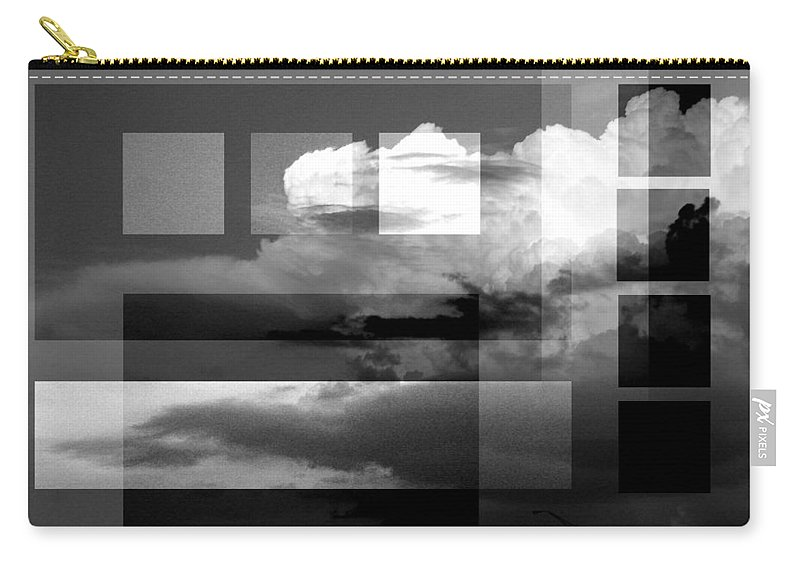 Black And White Abstract Photography Carry-all Pouch featuring the photograph Sky collage BW by Steve Karol