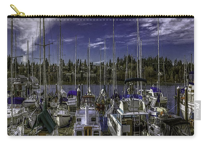 Sailboats Carry-all Pouch featuring the photograph Sky Embrace by Jean OKeeffe Macro Abundance Art