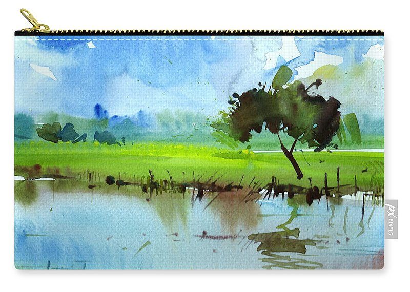 Nature Carry-all Pouch featuring the painting Sky N Farmland by Anil Nene