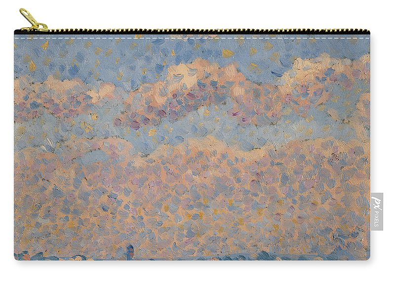Ciel Sur La Ville; Blue Sky; Clouds; Landscape; Heavens; Pointillist; 19th; 20th; Skyline; Cityscape Carry-all Pouch featuring the painting Sky Over The City by Louis Hayet
