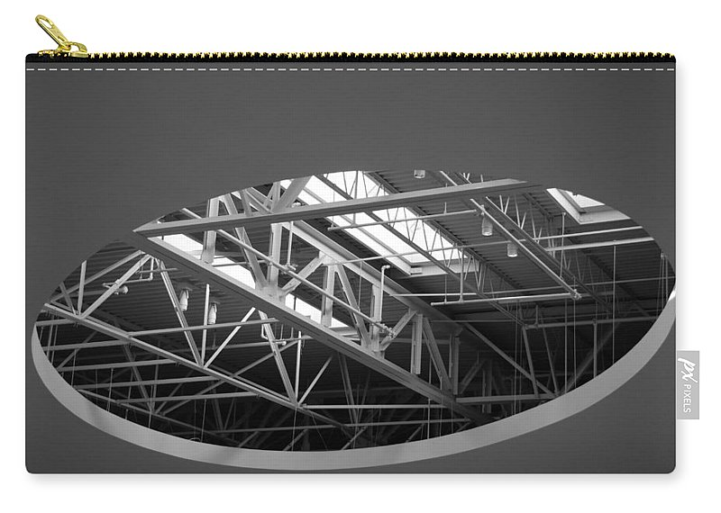 Architecture Carry-all Pouch featuring the photograph Skylight Gurders In Black And White by Rob Hans