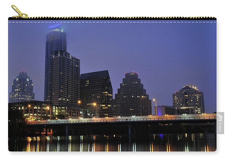 Color Image Carry-all Pouch featuring the photograph Skyline And Bridge In Austin by Aimintang