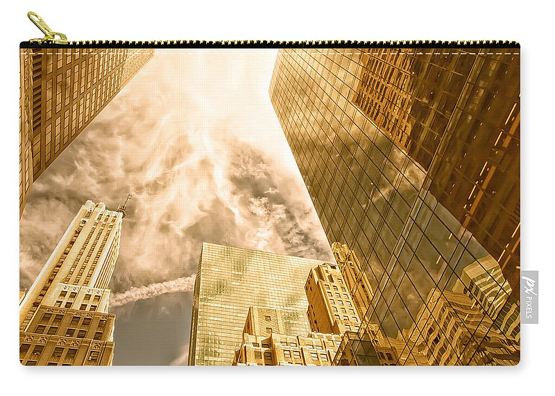 Abstract; Architecture; Background; Gold Carry-all Pouch featuring the photograph Skyscrapers Reflection by Jaroslav Frank