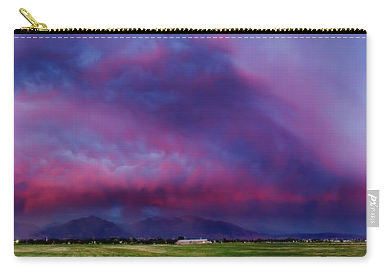 Landscape Photography Carry-all Pouch featuring the photograph Slc Sunset Panorama by La Rae Roberts