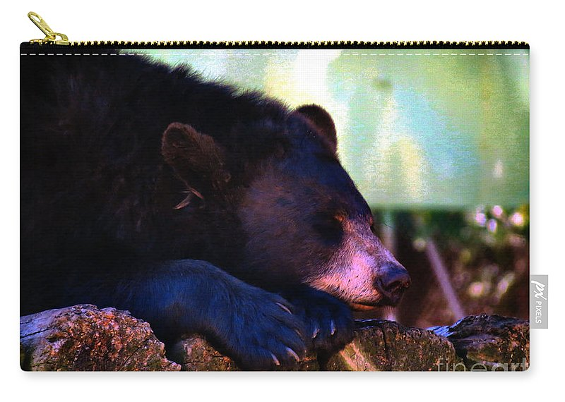 Bear Cuddly Carry-all Pouch featuring the photograph Sleeping Beauty by Art Dingo