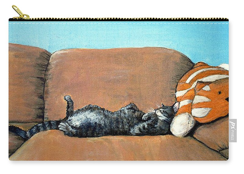 Calm Carry-all Pouch featuring the painting Sleeping Cat by Anastasiya Malakhova