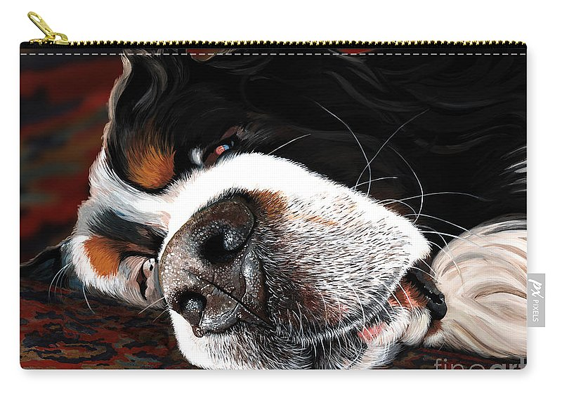 Berner Bernese Mountain Dog Sleeping Drooling Nose Close Up Fast Asleep Happy Dreaming Puppy Rug Snoring Liane Weyers Artist Love Art Painting Whiskers Nostrils Pup Carry-all Pouch featuring the painting Sleeping Dogs Lie by Liane Weyers