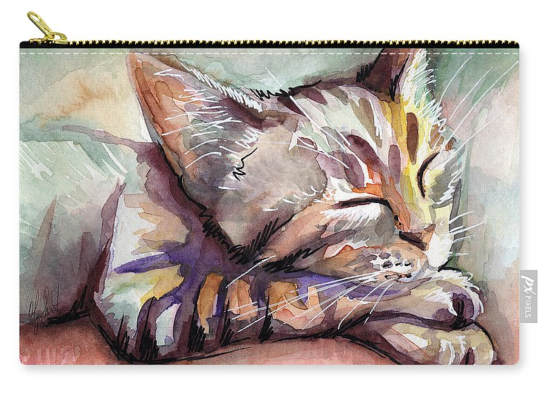 Sleeping Cat Carry-all Pouch featuring the painting Sleeping Kitten by Olga Shvartsur