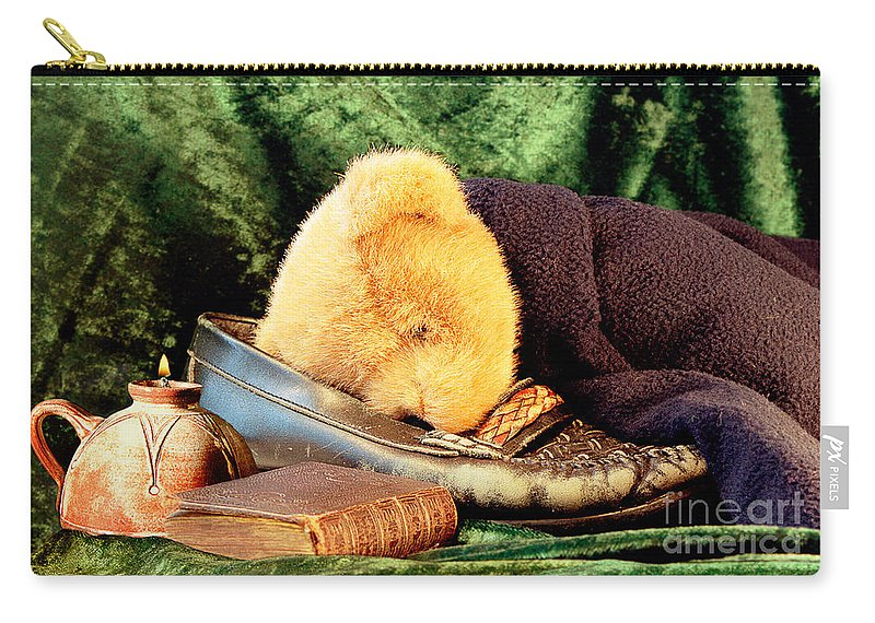 Teddy Carry-all Pouch featuring the photograph Sleeping Teddy by Louise Heusinkveld