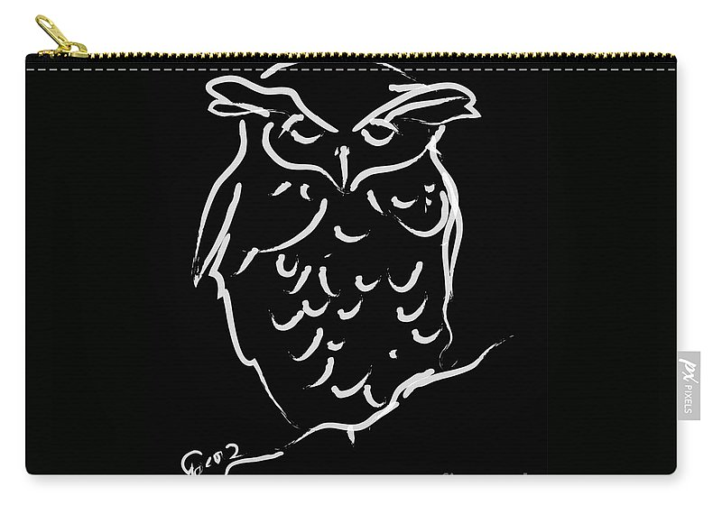 Wildlife Carry-all Pouch featuring the painting Sleepy Owl by Go Van Kampen