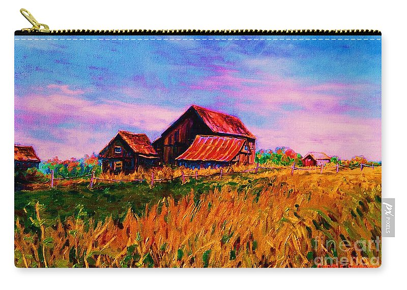Rustic Barns Carry-all Pouch featuring the painting Slendor In The Grass by Carole Spandau