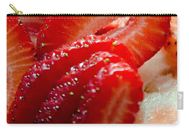 Red Carry-all Pouch featuring the photograph Sliced Strawberries by Tikvah's Hope