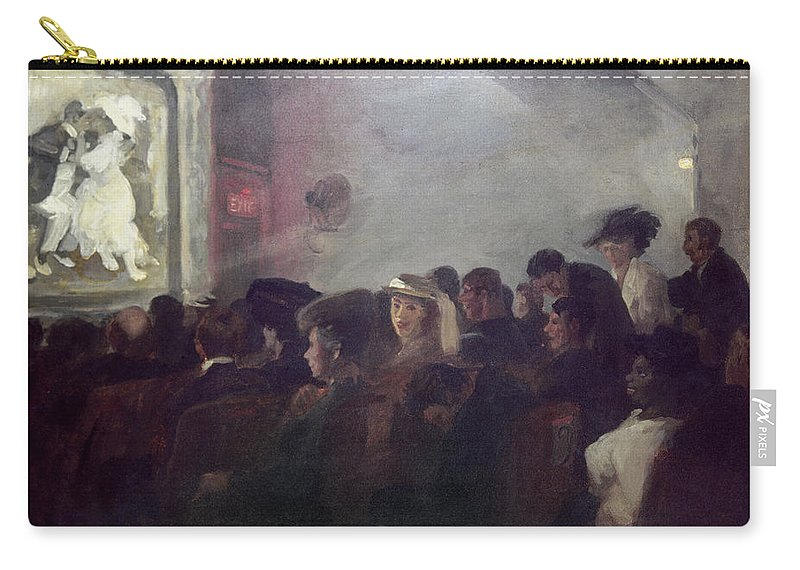 1907 Carry-all Pouch featuring the painting Sloan Nickelodeon, 1907 by Granger