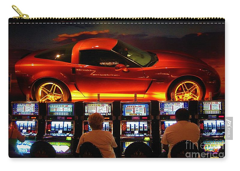 Las Vegas Carry-all Pouch featuring the photograph Slots Players In Vegas by John Malone