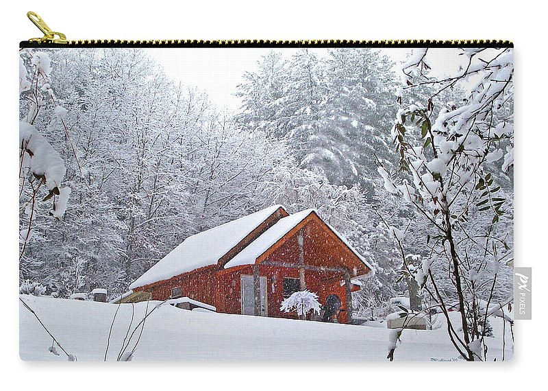Landscapes Carry-all Pouch featuring the photograph Small Cabin In The Snow by Duane McCullough