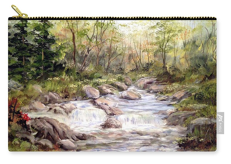 Falls Painting Carry-all Pouch featuring the painting Small Falls In The Forest by Dorothy Maier