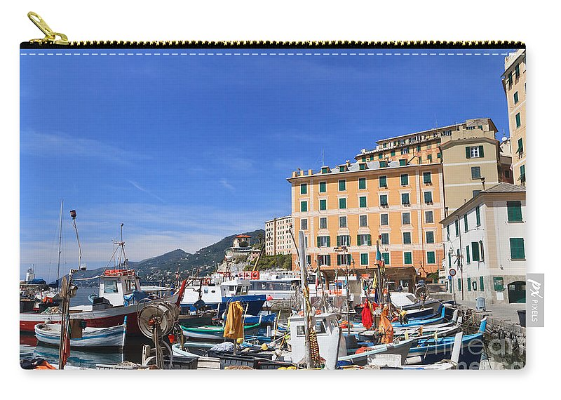 Architecture Carry-all Pouch featuring the photograph small harbor in Camogli. Italy by Antonio Scarpi