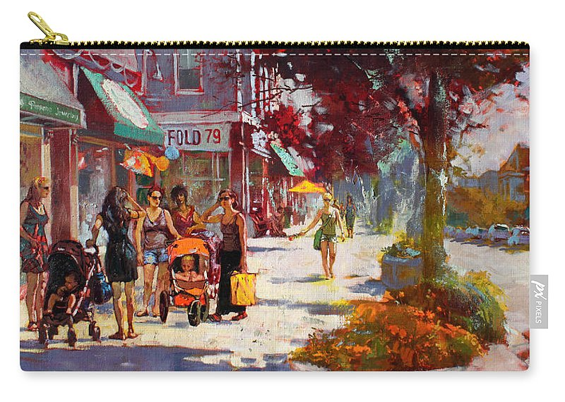 Landscape Carry-all Pouch featuring the painting Small Talk In Elmwood Ave by Ylli Haruni