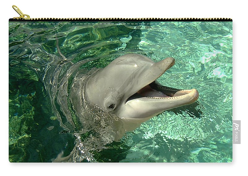 Dolphin Carry-all Pouch featuring the photograph Smiling Dolphin by Douglas Martin
