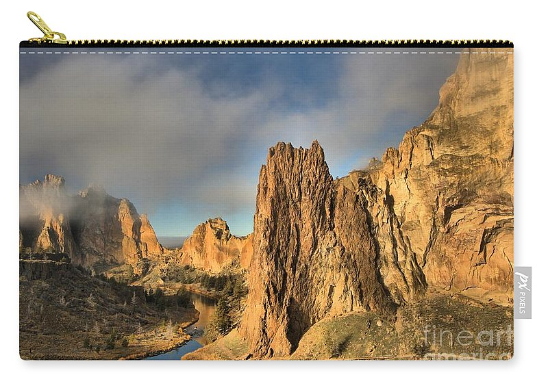 Smith Rock Carry-all Pouch featuring the photograph Smith Rock Foggy Morning by Adam Jewell