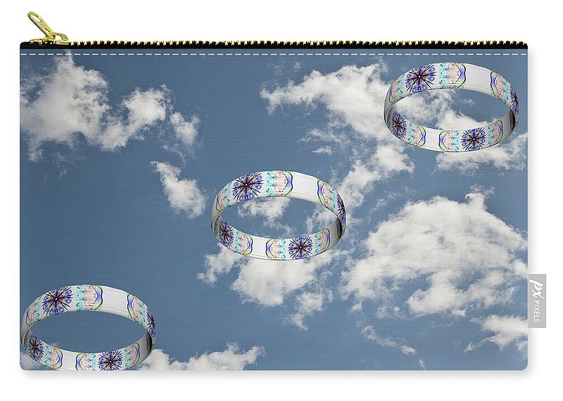 Smoking Trails Carry-all Pouch featuring the photograph Smoke Rings In The Sky 2 by Steve Purnell