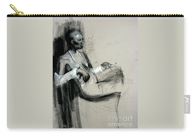 Smoking Carry-all Pouch featuring the drawing Smoking by Gabrielle Wilson-Sealy