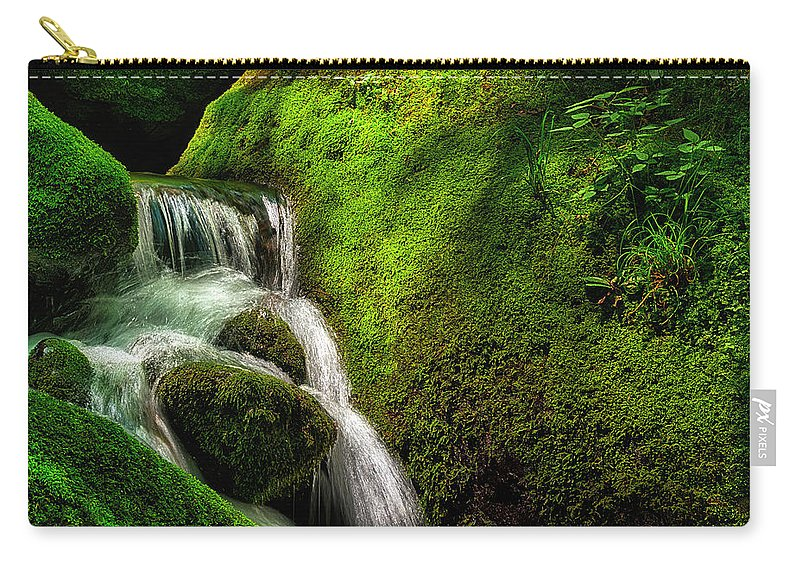 Water Carry-all Pouch featuring the photograph Smoky Mountain Stream And Boulders E223 by Wendell Franks