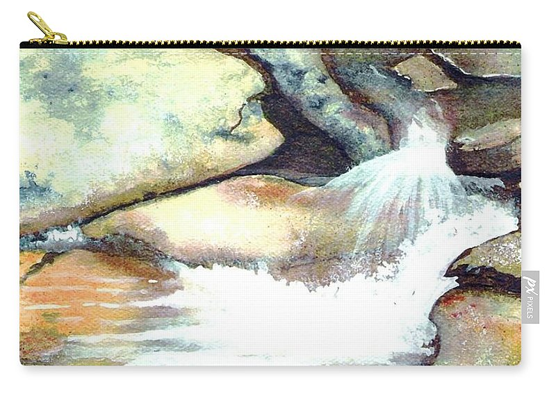 Fine Art Carry-all Pouch featuring the painting Smoky Mountains Waterfall by Patricia Griffin Brett
