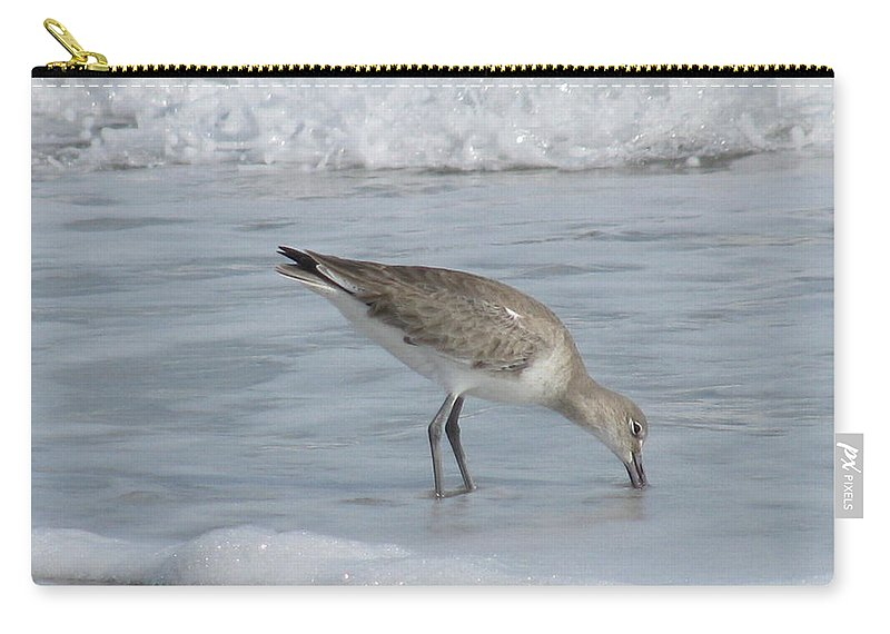 Landscape Carry-all Pouch featuring the photograph Snacking Sandpiper by Ellen Meakin
