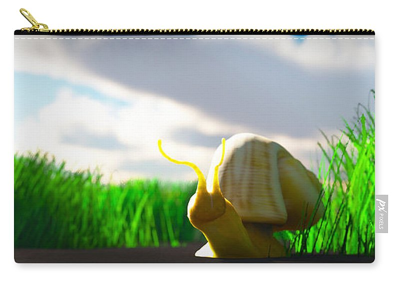 Landscape Carry-all Pouch featuring the digital art Snail And Grass... by Tim Fillingim