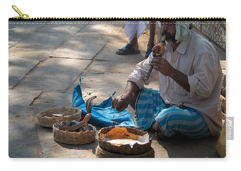 Ancient Buildings Carry-all Pouch featuring the digital art Snake Charmer Hampi Bazaar by Carol Ailles