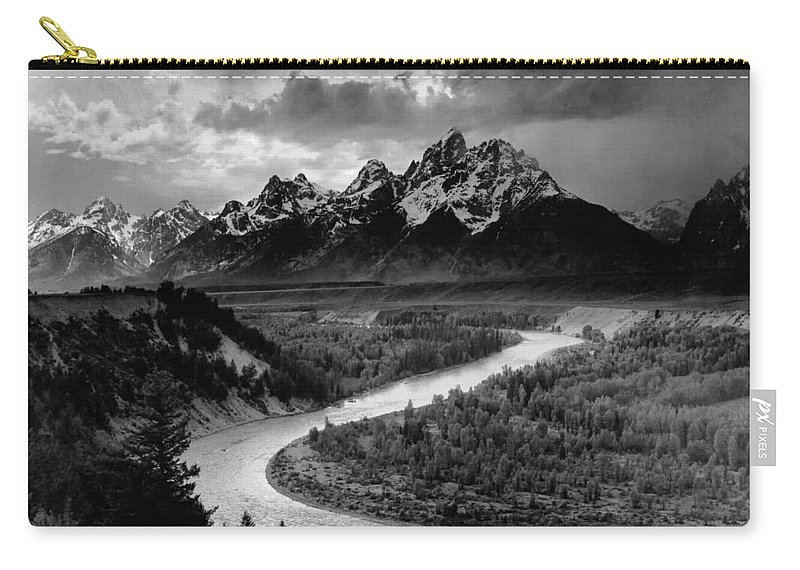 Ansel Adams Carry-all Pouch featuring the photograph Snake River In The Tetons - 1930s by Mountain Dreams