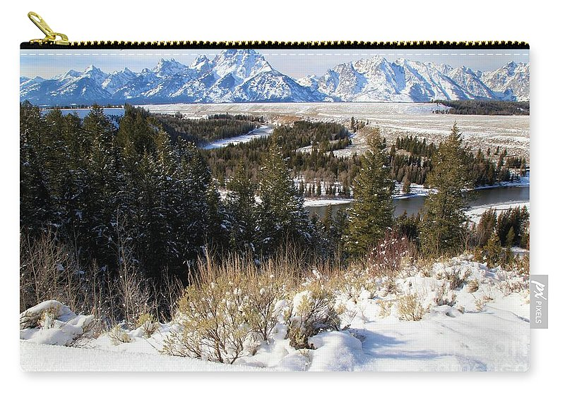 Grand Teton National Park Carry-all Pouch featuring the photograph Snake River Overlook by Adam Jewell