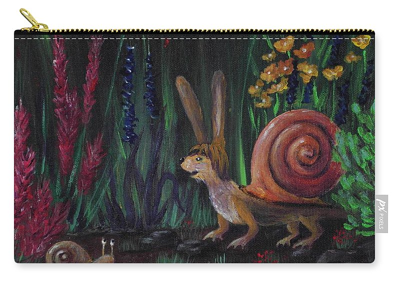 Malakhova Carry-all Pouch featuring the painting Snellius Fluffius by Anastasiya Malakhova
