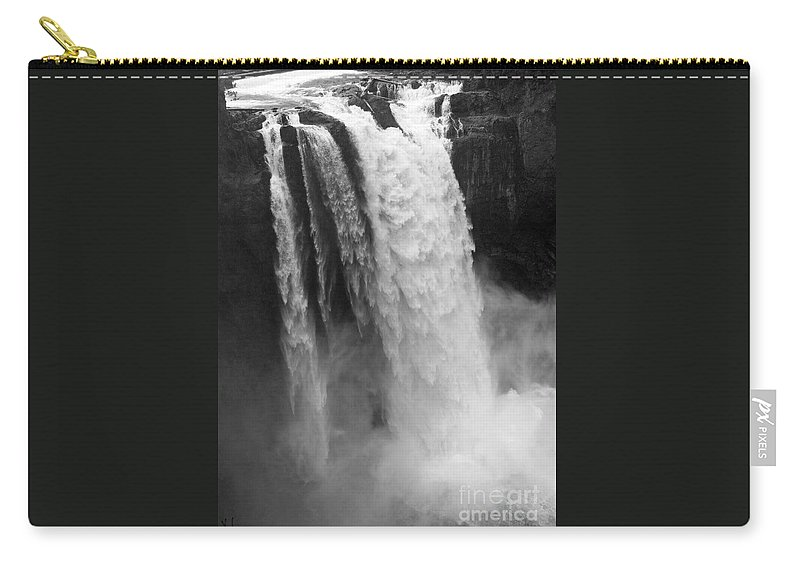 Snoqualmie Falls Carry-all Pouch featuring the photograph Snoqualmie Falls - Black And White by Carol Groenen