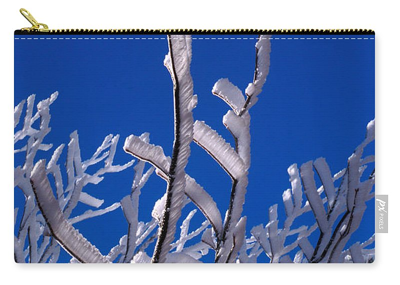 No People; Vertical; Outdoors; Day; Low Angle View; Close-up; Part Of; Winter; Snow; Ice; Frozen; Cold; Scenics; Beauty In Nature; Clear Sky; White; Branch; Frost; Bare Tree; Blue Carry-all Pouch featuring the photograph Snow And Ice Coated Branches by Anonymous