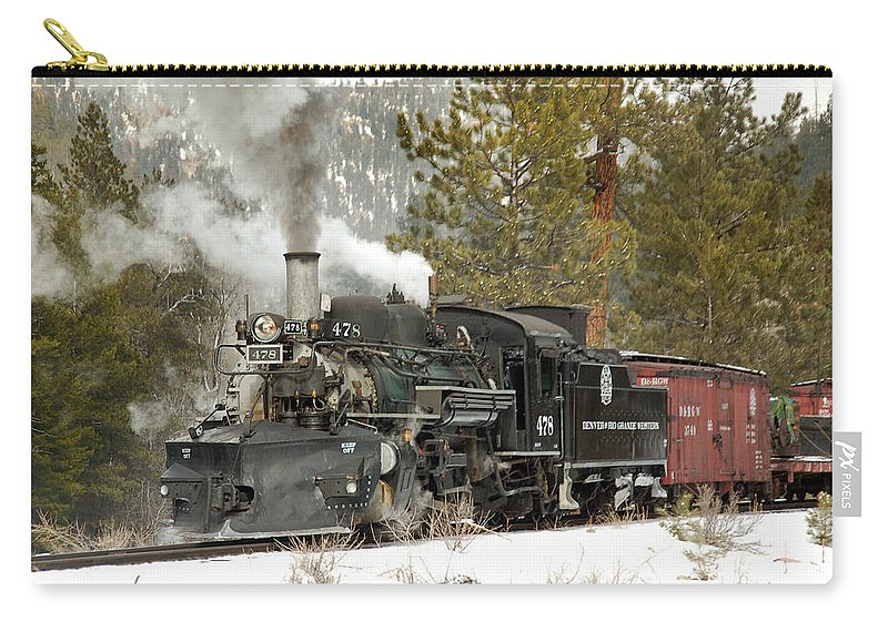 Steam Train Carry-all Pouch featuring the photograph Snow And Steam by Ken Smith
